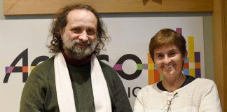 El pianista Juan María Solare y Gloria Gómez Canal en los estudios de ACULCO Media. Ingrid Saavedra.