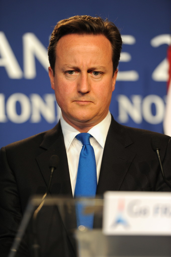 David Cameron, Prime Minister of the United Kingdom of Great Britain and Northern Ireland, at his press conference during the 37th G8 summit in Deauville, France.