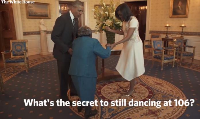 Anciana conoce a Obama.