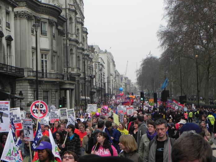 Marcha sindical Londres. Imagen de archivo.