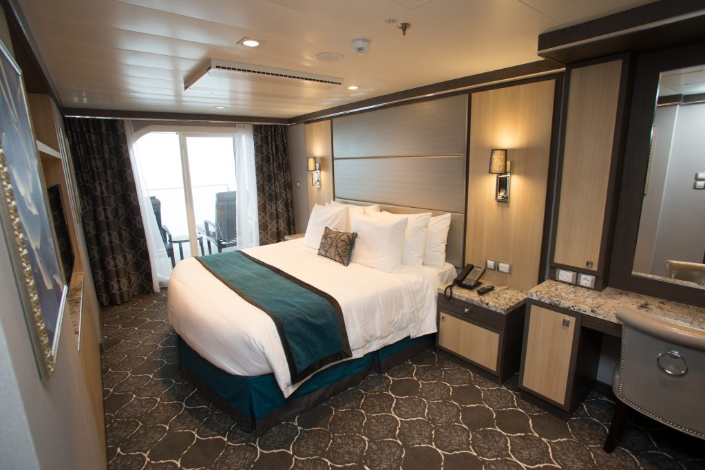 Royal Caribbean International's Harmony of the Seas, the world's largest and newest cruise ship, previews in Southampton, UK. Royal Family Suite with Balcony.