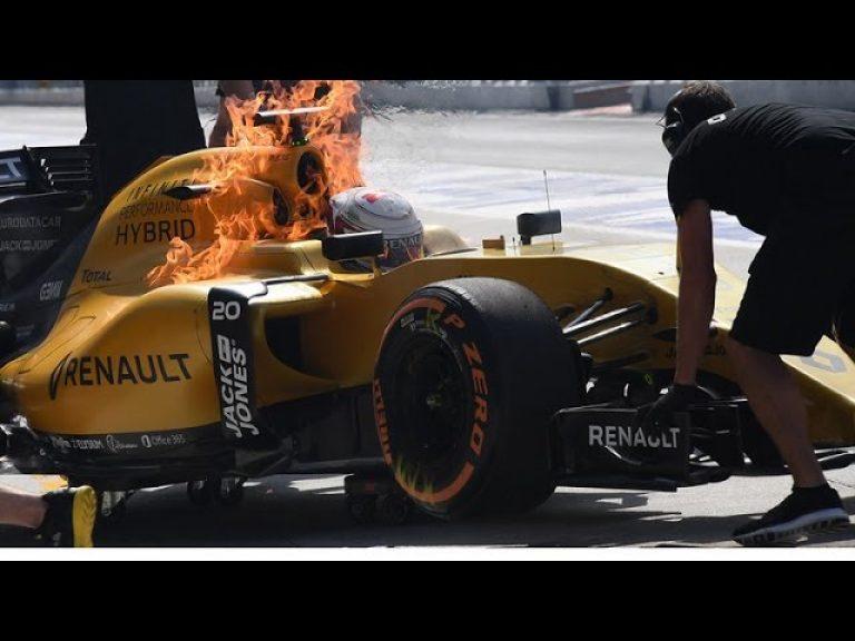 Incendio en un auto de Fórmula Uno
