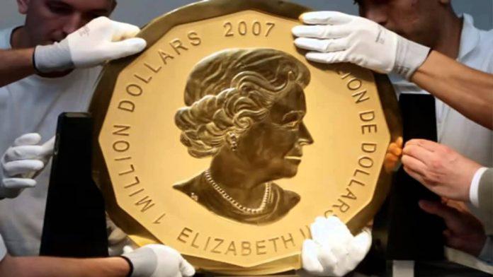 La moneda de oro más grande del mundo. Imagen de archivo.