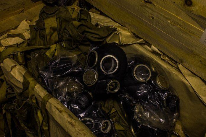 Máscaras de gas. Imagen de archivo.