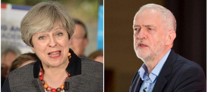 Los candidatos Theresa May y Jeremy Corbyn. Politics Home.