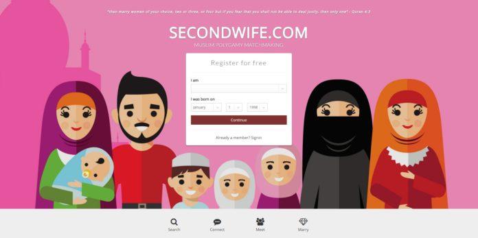 Imagen de inicio de la web secondwife.com. Becoming the Alpha Muslim.